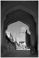 Gate, Mehrangarh Fort. Jodhpur, Rajasthan, India (black and white)