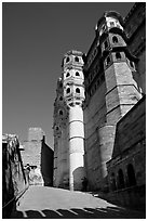 Tall Towers, Mehrangarh Fort. Jodhpur, Rajasthan, India (black and white)