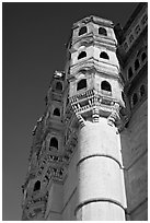 Tower, Mehrangarh Fort. Jodhpur, Rajasthan, India (black and white)