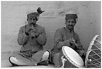 Flute and drum players, Mehrangarh Fort. Jodhpur, Rajasthan, India (black and white)