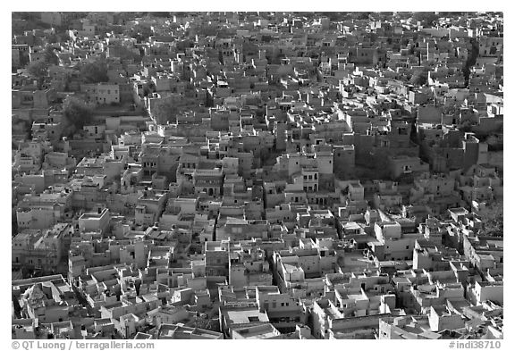 View over a sea of blue houses from Mehrangarh Fort. Jodhpur, Rajasthan, India (black and white)