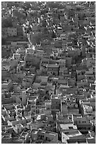 Rooftops of blue houses, seen from above. Jodhpur, Rajasthan, India (black and white)