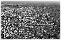 Blue City, seen from Mehrangarh Fort. Jodhpur, Rajasthan, India (black and white)
