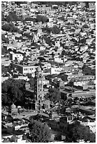 Clock tower and old quarter seen from  Mehrangarh Fort. Jodhpur, Rajasthan, India (black and white)
