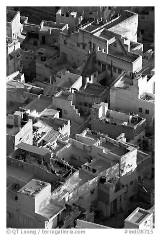 Terraces on top of blue houses seen from above. Jodhpur, Rajasthan, India (black and white)