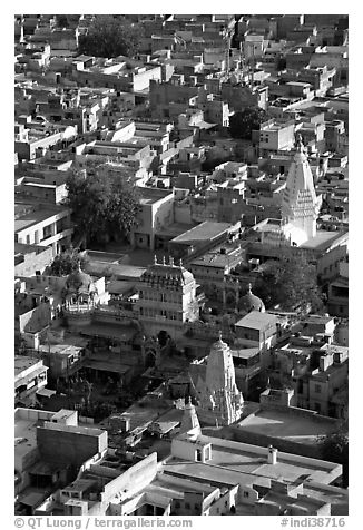 Old town rooftops and shrines seen from Mehrangarh Fort. Jodhpur, Rajasthan, India (black and white)