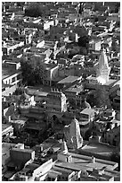 Old town rooftops and shrines seen from Mehrangarh Fort. Jodhpur, Rajasthan, India ( black and white)