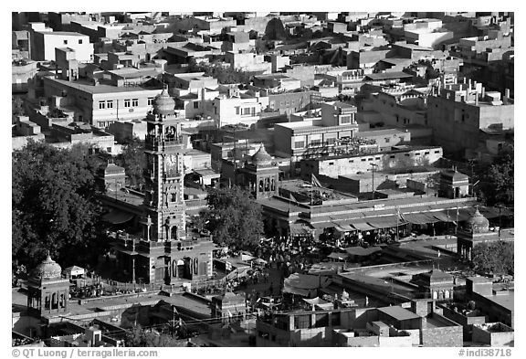 Sardar Market and bell tower seen from above. Jodhpur, Rajasthan, India (black and white)