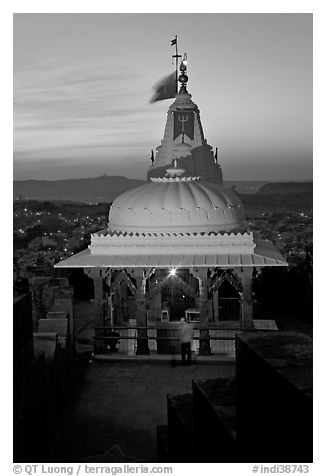 Chamunda Devi temple, Mehrangarh Fort. Jodhpur, Rajasthan, India (black and white)