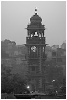 Clock tower at dawn. Jodhpur, Rajasthan, India (black and white)