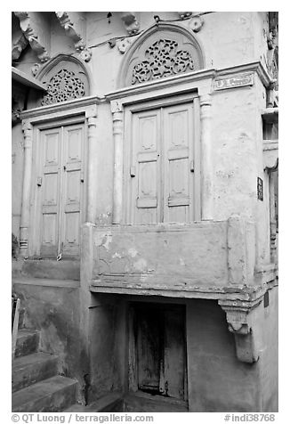 Green doors and blue walls. Jodhpur, Rajasthan, India (black and white)