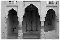 Blue porch of Brahmin house. Jodhpur, Rajasthan, India (black and white)