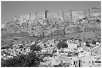 Houses and Mehrangarh Fort, morning. Jodhpur, Rajasthan, India (black and white)