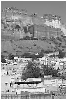 Old town at the base of the Mehrangarh Fort, morning. Jodhpur, Rajasthan, India ( black and white)