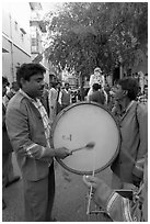 Musicians at wedding. Jodhpur, Rajasthan, India (black and white)