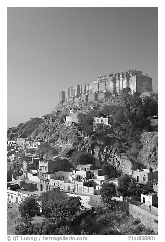 Mehrangarh Fort on top of hill. Jodhpur, Rajasthan, India (black and white)