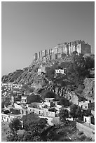 Mehrangarh Fort on top of hill. Jodhpur, Rajasthan, India ( black and white)
