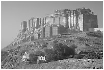Mehrangarh Fort. Jodhpur, Rajasthan, India (black and white)