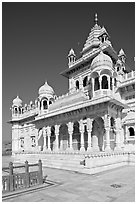 White marble memorial, Jaswant Thada. Jodhpur, Rajasthan, India ( black and white)