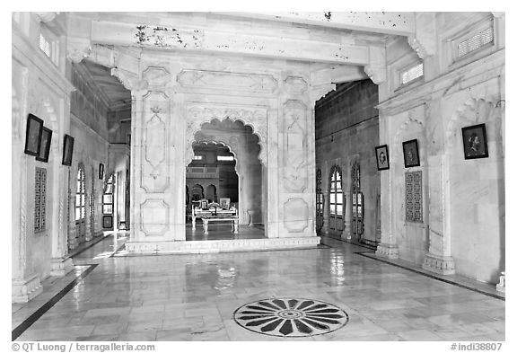 Inside Jaswant Thada. Jodhpur, Rajasthan, India (black and white)