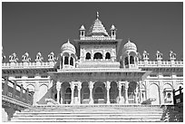 White marble mausoleum, Jaswant Thada. Jodhpur, Rajasthan, India (black and white)