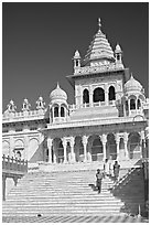 Tourists walking down steps in front of Jaswant Thada. Jodhpur, Rajasthan, India (black and white)
