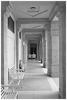 Corridor inside Umaid Bhawan Palace. Jodhpur, Rajasthan, India (black and white)