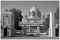 Entrance of Umaid Bhawan Palace. Jodhpur, Rajasthan, India ( black and white)
