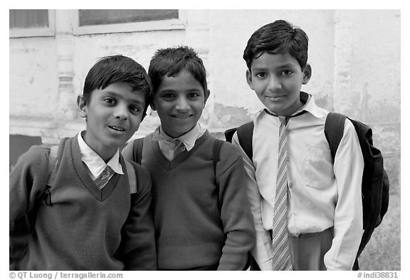 Schoolboys in uniform. Jodhpur, Rajasthan, India (black and white)