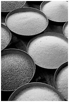 Grains in cicular containers, Sardar market. Jodhpur, Rajasthan, India (black and white)
