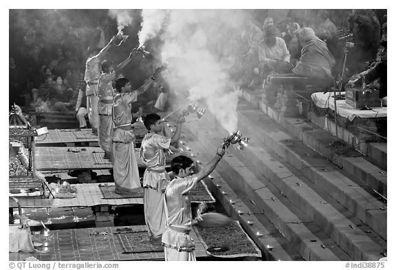 Hindu holy men performing religious arti ceremony. Varanasi, Uttar Pradesh, India (black and white)