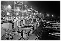 Aarti ceremony on the banks of the Ganga River. Varanasi, Uttar Pradesh, India (black and white)