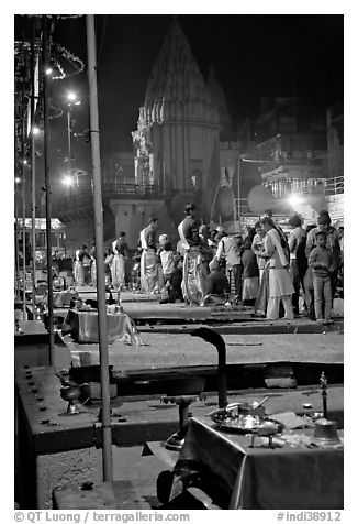 Pujari giving blessings at  Dasaswamedh Ghat. Varanasi, Uttar Pradesh, India (black and white)