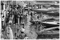 Ritual dip into the Ganga River. Varanasi, Uttar Pradesh, India (black and white)
