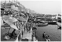 Dasaswamedh Ghat and Ganges River, sunrise. Varanasi, Uttar Pradesh, India (black and white)