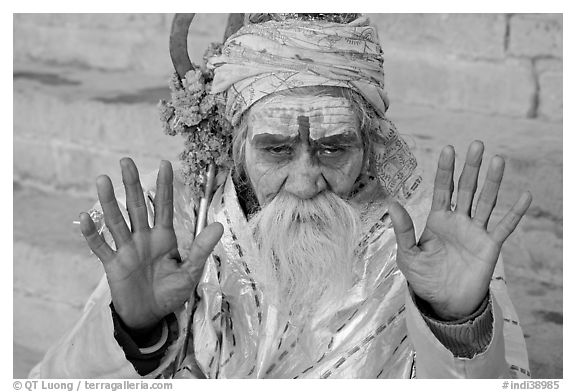 Holy man. Varanasi, Uttar Pradesh, India (black and white)