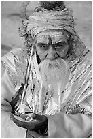 Sadhu. Varanasi, Uttar Pradesh, India (black and white)