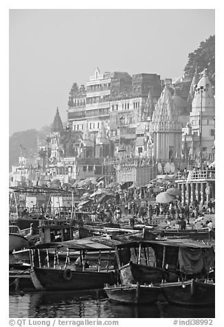 Boats and Dasaswamedh Ghat, sunrise. Varanasi, Uttar Pradesh, India (black and white)