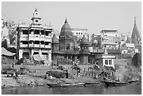Manikarnika Ghat, the main burning ghat. Varanasi, Uttar Pradesh, India (black and white)