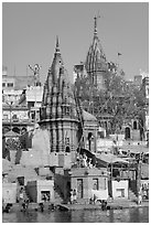Hindu temples on the riverbank of the Ganga River. Varanasi, Uttar Pradesh, India ( black and white)