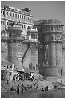 Towers and steps, Ganga Mahal Ghat. Varanasi, Uttar Pradesh, India (black and white)