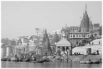 Temples and steps on Ganga riverbank. Varanasi, Uttar Pradesh, India (black and white)