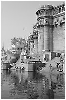 Castle-like towers and steps, Ganga Mahal Ghat. Varanasi, Uttar Pradesh, India (black and white)