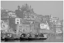 Alamgir Mosque above boats and the Ganges River. Varanasi, Uttar Pradesh, India (black and white)