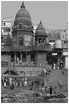 Manikarnika Ghat, the main cremation ghat. Varanasi, Uttar Pradesh, India (black and white)