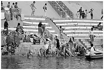 Women bathing at Meer Ghat. Varanasi, Uttar Pradesh, India (black and white)