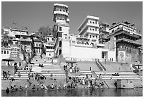 Ganges River at Meer Ghat. Varanasi, Uttar Pradesh, India (black and white)