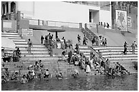 Colorful steps at Meer Ghat. Varanasi, Uttar Pradesh, India (black and white)