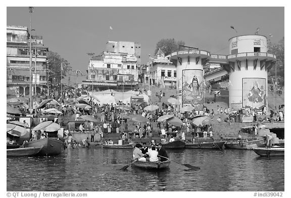 Dasaswamedh Ghat, the main Ghat on the Ganges River. Varanasi, Uttar Pradesh, India (black and white)