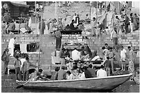 Boat and stone steps, Dasaswamedh Ghat. Varanasi, Uttar Pradesh, India (black and white)